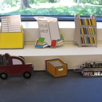 photo of library enamal pins