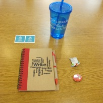 cup, notebook, stickers