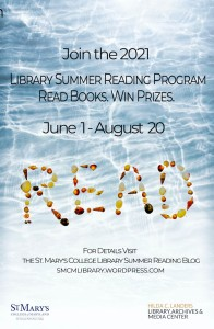 Summer Reading Poster: Dates for summer reading over a background of water